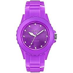 Wunderschöne Damen-Armbanduhr mit Kristallen Swarovski Silikon Violett 37