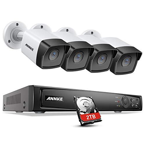 ANNKE 5MP POE Überwachungskamera Set, 8CH H.265+ 4K NVR Überwachungssystem mit 4x 5MP Wasserfest IP Sicherheit Kamera 2TB Festplatte, 30m EXIR Nachtsicht, Bewegungserkennung für Haus Innen Außen (Hause-surveillance-system Zu Sicherheit)
