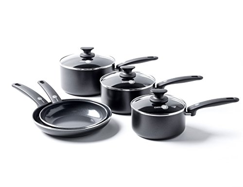 Greenpan Cambridge Ceramic Non-Stick Cookware Set, Aluminium, Black, 5 Pcs