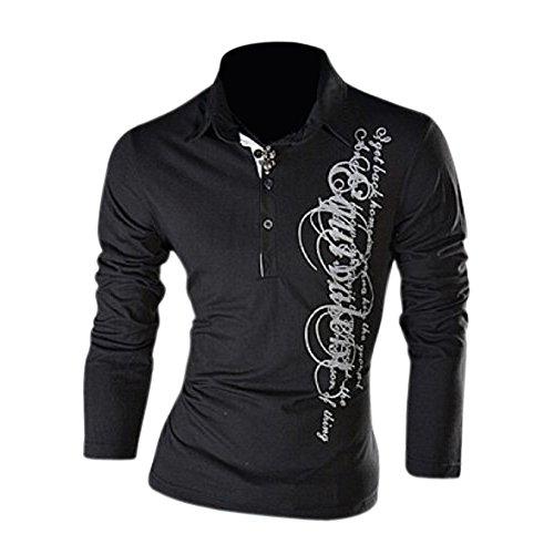 SODIAL (R) Nuovo Polo magliette casual da uomo con stampa grafica manica lunga Slim Fit nero M