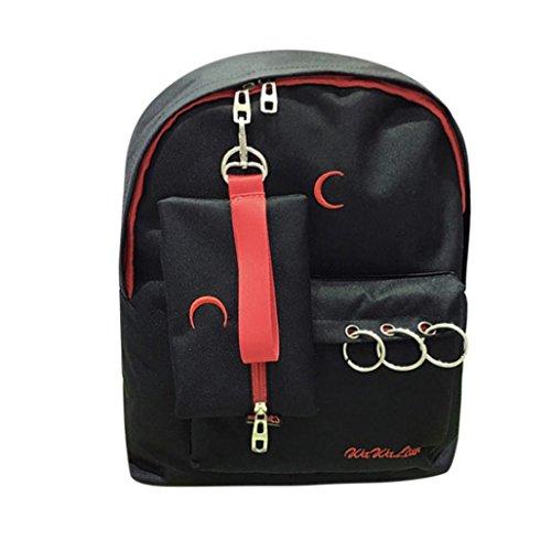 Bellelove Nylon Stickerei Rucksack Schule Schulter Reißverschlüsse Messenger Bag Travel Rucksäcke (Schwarz) -