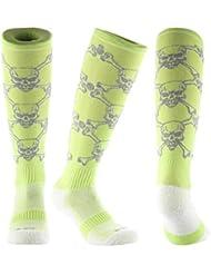 Samson Hosiery® detallada estampado de calavera Funky Novedad Moda Regalo Calcetines de fútbol RUGBY deportes y Casual rodilla alta calcetines para hombres mujeres niños unisex