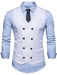 4c1e9d2fac25 Demiawaking Homme Vintage Gilet Costume Casual Veste sans Manches Slim Fit  Business Mariage Couleur Unie Double
