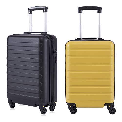 Toctoto Bagaglio a Mano da 2 pezzi Espandibile con Lucchetto TSA (20' 41LT 55x35x20cm + 18' 38LT 52x33x20cm), Adatto Per Voli Low Cost Bagaglio Da Cabina Ryanair, Vueling (20'(Nero)+18'(Giallo))