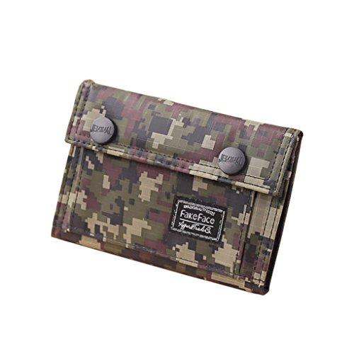 Portafoglio per teenager, militare, si piega in tre, in tela, porta-carte di credito, blocco note per studenti Verde Woodland Camouflage