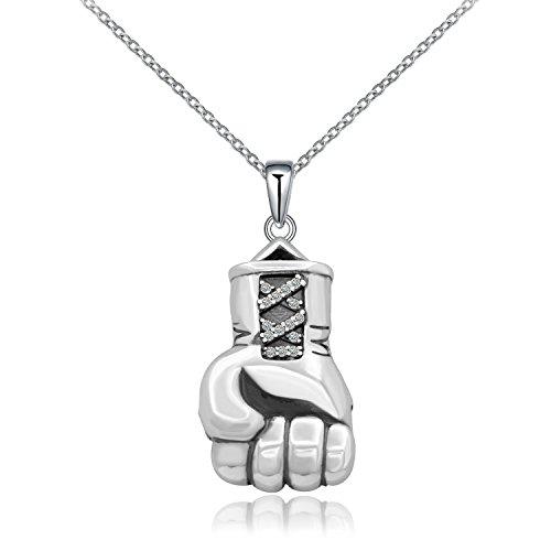 Cool Anhänger Boxhandschuh Punk 925Sterling Silber Halskette personalisierte Schmuck