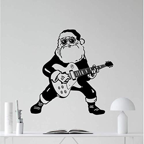 Hyllbb Santa Calus Spielen Sie Die Gitarre Spezielle Wandaufkleber Weihnachten Home Room Cool Decor Wandbild Rock Santa Calus Nette 57 * 57 Cm