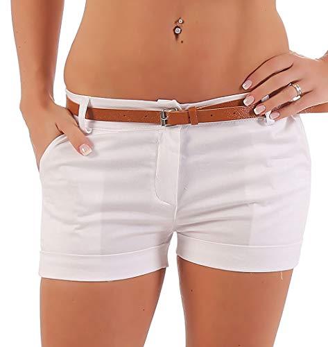 Malito Damen Chino Shorts in Unifarben | lässige Kurze Hose | Bermuda für den Strand | Pants - Hotpants 5397 (weiß, S)