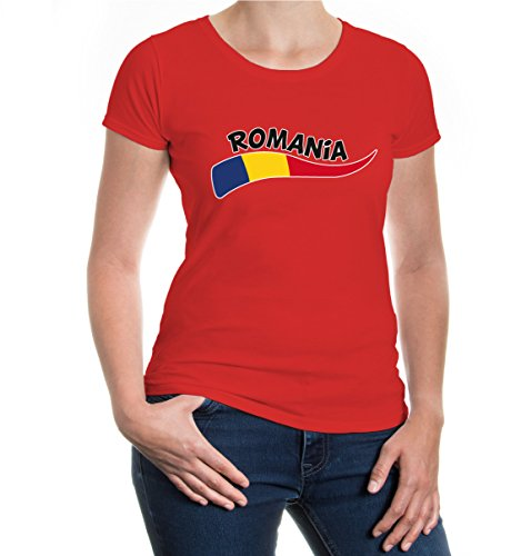 buXsbaum® Girlie T-Shirt Rumänien-Wave Red-z-direct