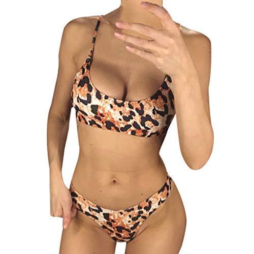 YpingLonk Sexy Slingshot Bikini Push-Up Pad Badebekleidung Leopardenmuster Gepolsterter Bandeau-Badeanzug Zweiteiler Für Dame koordinierte sehr Schwimmen Beachwear