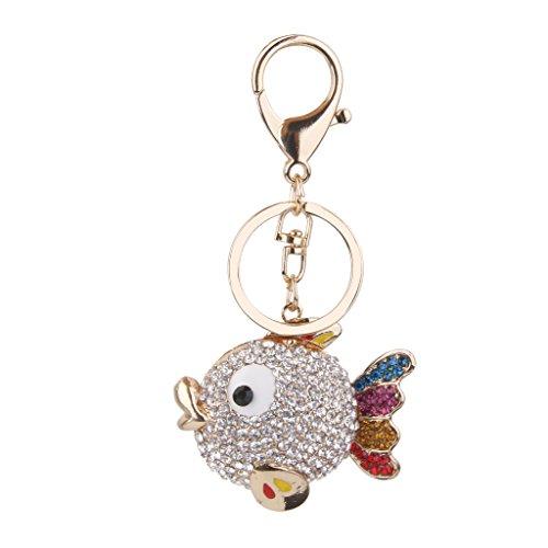 Preisvergleich Produktbild 1pc Legierung Rhinestone-nette Fisch Form Anhänger Schlüsselring