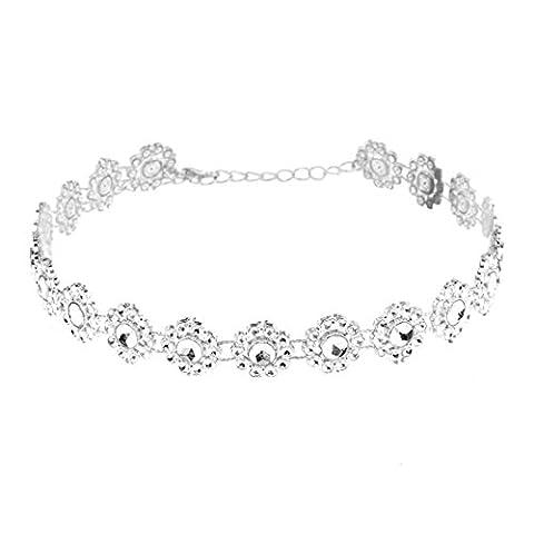 Necklace, Bestow Wedding Jewelry, Women Full Diamond Crystal Rhinestone Choker Necklace (White)