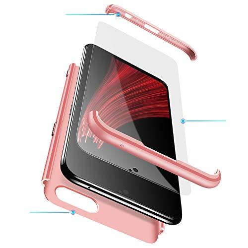 MEVIS Oppo F7 Hülle,360 Grad hülle Fullbody case+(1*Hartglas Glasfilm Schutzfolie) 3 in 1 Ultra dünner pc Hardcase Scratch und Shockproof-Rotgold