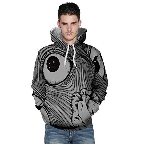 Unisex Kapuzenpullover, CixNy Lustiger Männer und Frauen Sweatshirt Langarm Hoodie Pullover 3D Gedruckt Tops Polo Weste Tunika Shirt Hemd Bluse (Schwarz -D, XXXL) -