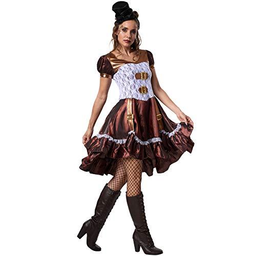 dressforfun 900484 - Damenkostüm Steampunk Lady, Kurzärmeliges Satinkleid in Hellen und dunklen Farbtönen (M | Nr. 302301) (Steampunk Lady Kostüm)