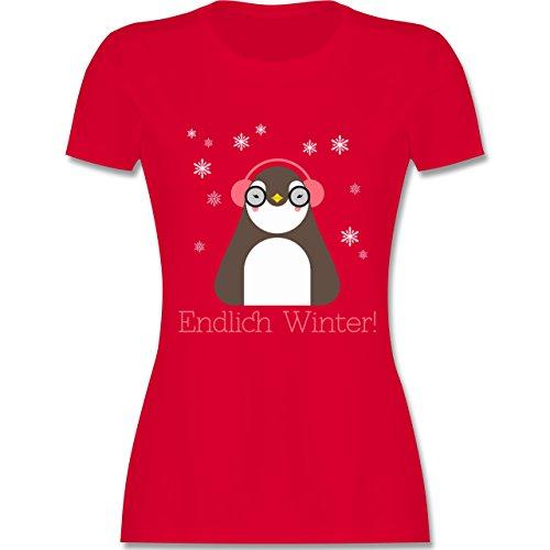 Wintersport - Endlich Winter Pinguin kalt - tailliertes Premium T-Shirt mit Rundhalsausschnitt für Damen Rot