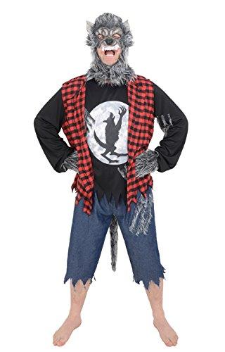 Einheitsgröße für Erwachsene Herren Werwolf Wolfman Halloween-Kostüm