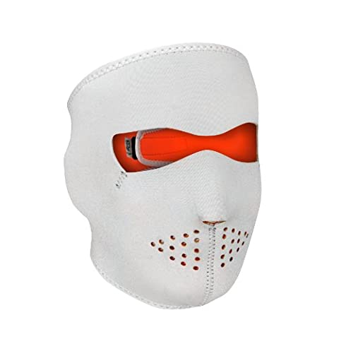 Full Face Reversible Neoprene Ski Mask - White/ Hi-Vis Orange