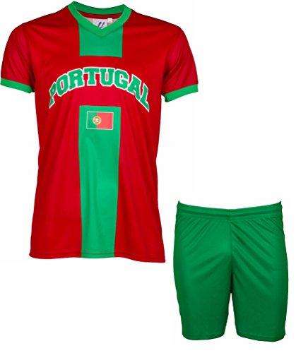 Trikot + Shorts Portugal–Collection Ertragen–Kindergröße 10 Jahre rot - rot