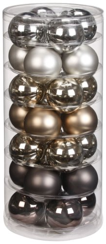 Inge-glas 15090D003 Kugel 60 mm, 28 Stück/Dose, Urban Graphic Mix(zinn,graubraun,granit)