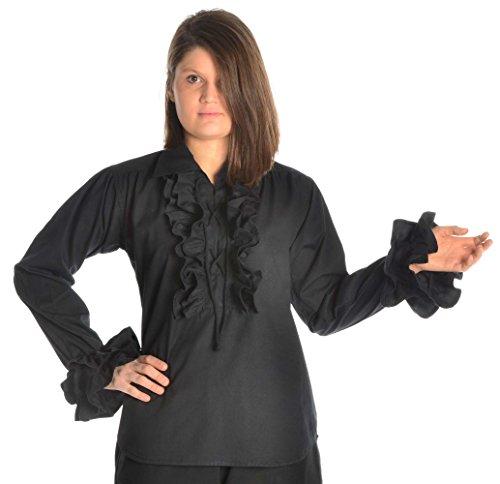 Bluse Damen Pirat (Rüschenbluse Schnürbluse Piraten-Bluse schwarz XXXL)