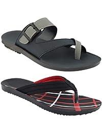 Birde Grey & Black PU Slipper for Men & Boy (Combo of 2)