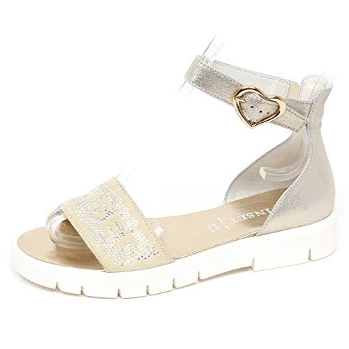 huge selection of ccc8e c4e63 E8694 Sandalo Bimba Girl Twin-Set Scarpe Strass Beige/Silver Shoe Sandal  [32]