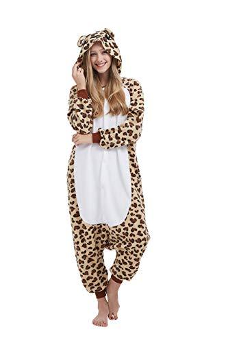 Casa Pyjamas Tieroutfit Schlafanzug Tier Onesies Sleepsuit mit Kapuze Erwachsene Unisex Overall Halloween Kostüm (Medium, Leopardenbär)