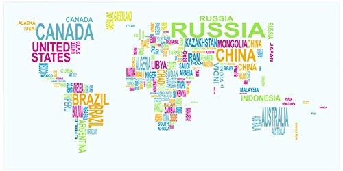 Tomasucci Text World Map Stampa, Legno, Multicolore