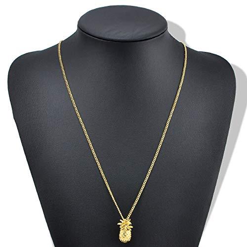 XLHJK Ketten Anhänger Halsketten for Frauen Männer Gold Metall Ananas Obst niedlichen Charme Lange Kette Anhänger Halskette T-Shirt Schmuck Geschenk