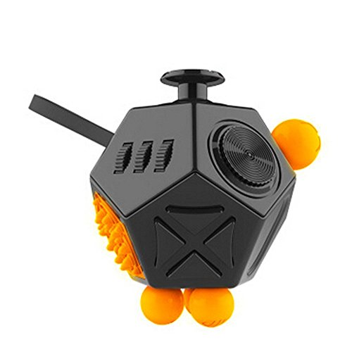 Fidget Toy Stress Reducer, Hybrid Ceramic Bearing Non-3D Printed Fidget Spinner for Autism and ADHD Kids/Adult Funny Anti Stress Toys Tri-spinner Fidget Cube (12 Sides, Black)