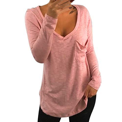 T-Shirt Short Femme ÉTé Manchesnouveau Rabais V-Ncek Pocker Printemps Et en éTé Nouvelle Ligne De Mode Tendance T-Shirt Personnalisé à Manches Longues Epaule DéNudéE Tunique Chemise Blouse Daysing