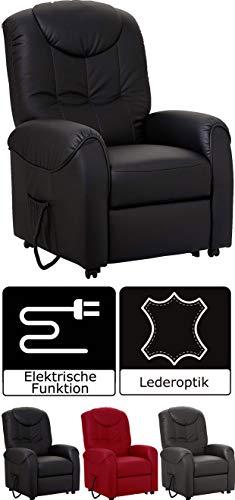 Cavadore TV-Sessel Basta mit Aufstehhilfe  Fernsehsessel mit Motor, Kunstleder, schwarz, 75 x 110 x 92 cm