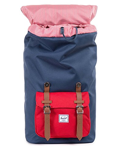 Little America Backpack Navy/Red/Tan PU Backpack