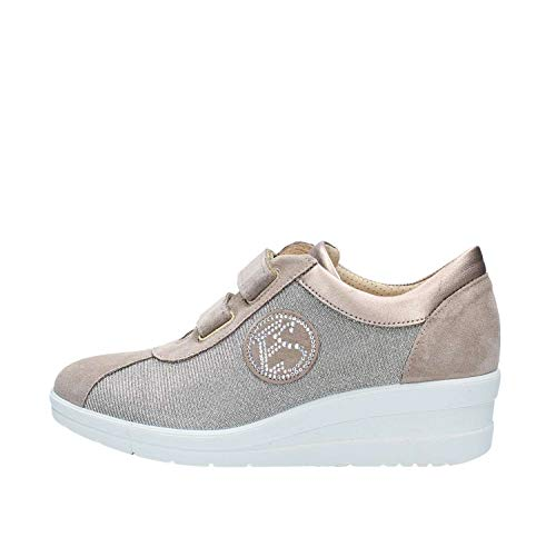Enval soft 12655 Taupe Scarpa Donna Zeppa 50 Sneaker Pelle Made In Italy