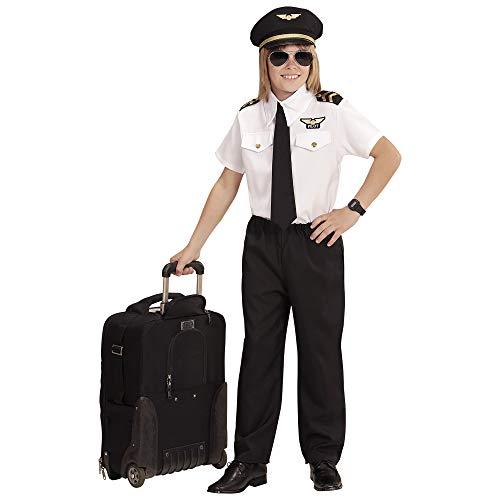 (WIDMANN 96806 Kinderkostüm Pilot, Jungen, Schwarz/Weiß, 128)