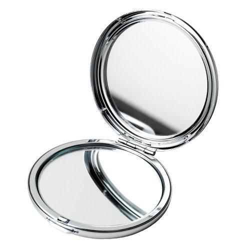 Miroir de poche rond, double, en chrome