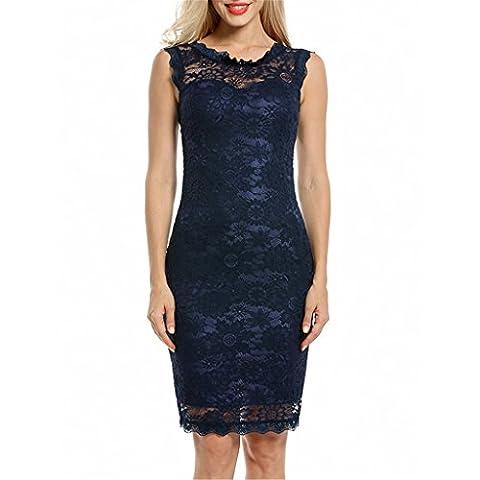 Frauen Kleid Ol Kleid Spitze Körper Con Bleistift Rock Kleid Marine Blau 2XL