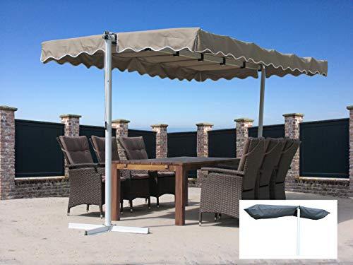 Quick-Star Ziehharmonika-Markise Dubai Sand mit Schutzhülle Grau