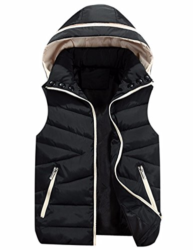 EMMA Damen Herbst Winter Weste mit Kapuze Ärmellos Jacke mit Taschen Reverskragen Reißverschluss Gilet Kaputzenjacke Padded Gepolstert Weste Vest Down Baumwolle Jacke Outwear(BL,2XL)