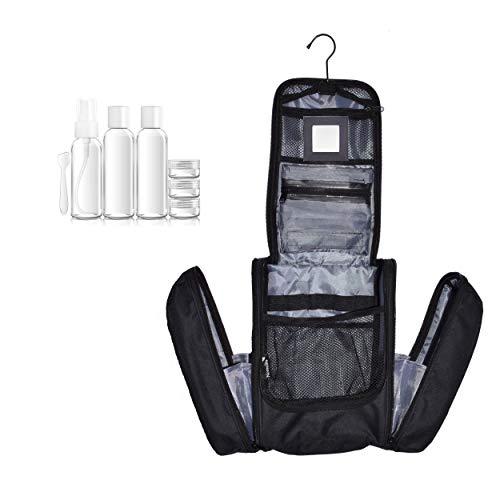 Extra großer Kulturbeutel für Mann und Frau von Nomalite | Hängende, Wasserdichte XL-Kosmetiktasche/Kulturtasche. (Deluxe (mit Faschen 100ml)) Deluxe Gadget Bag