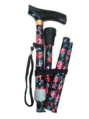 Fiore bastone da passeggio pieghevole, regolabile in altezza, con manico in legno, Cinghia da polso e ghiera in gomma extra Free, blk/red