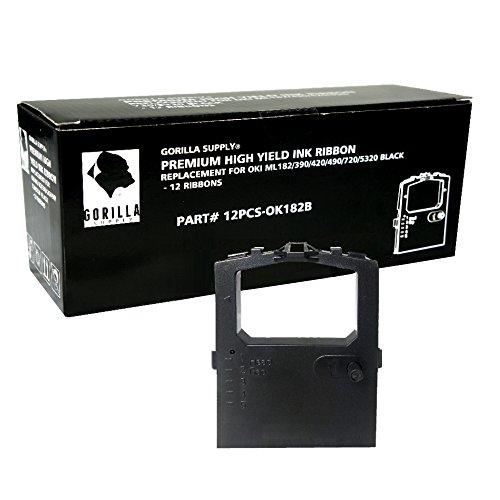 12Stück Farbband Ersatz für Okidata 320420Turbo 5210200152104001(Bambuspfeile, schwarz)