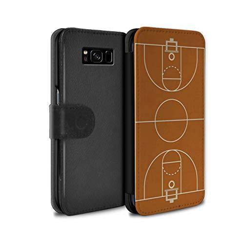eSwish PU-Leder Hülle/Case/Tasche/Cover für Samsung Galaxy S8 Plus/G955 / Basketball Muster/Amerikanisch Sportplatz Feld Kollektion Usa-basketball-mobile