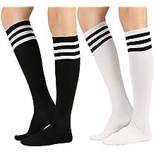 d0eea24505bb3 Chalier 3 pares de calcetines largos a rayas para mujeres sobre la rodilla  muslo calcetines altos