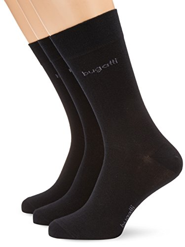 bugatti Herren Socke 3 er Pack 6703 / bugatti smooth cotton, Gr. 43-46, Schwarz (610 - black)