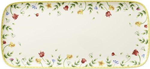 Villeroy & Boch Spring Awakening Kuchenplatte, 35x16 cm, Premium Porzellan, Weiß/Bunt