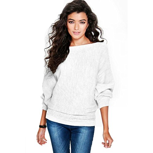 Amlaiworld Winter Warm Lose Sweatshirt Damen Weich Mode Stricken Pullis Fledermaus Pullover (M, Weiß) (Stricken Mädchen Pulli)
