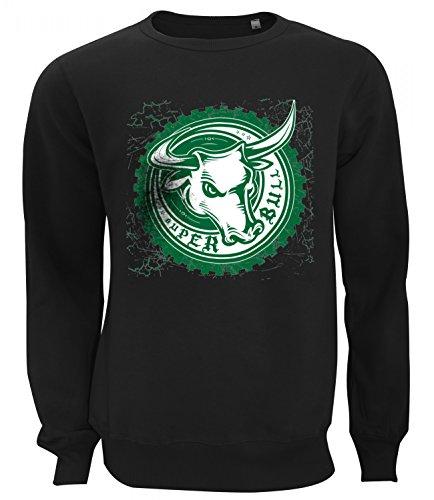 Three Monkeys Super Bull Animals Collection Women's Unisex Sweatshirt Nero (Super Forte Horn)