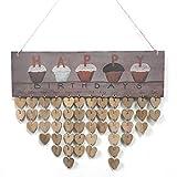 Wergem Nouveau mur de maison Art moderne Decor calendrier en bois joyeux anniversaire Meubles vitrines